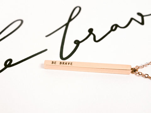 Be Brave | Vertical Bar Necklace