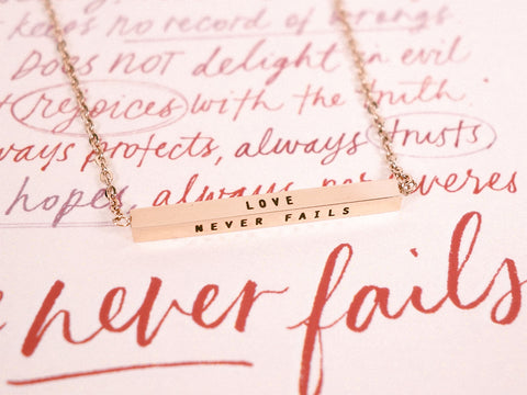 Love Never Fails | Bar Necklace