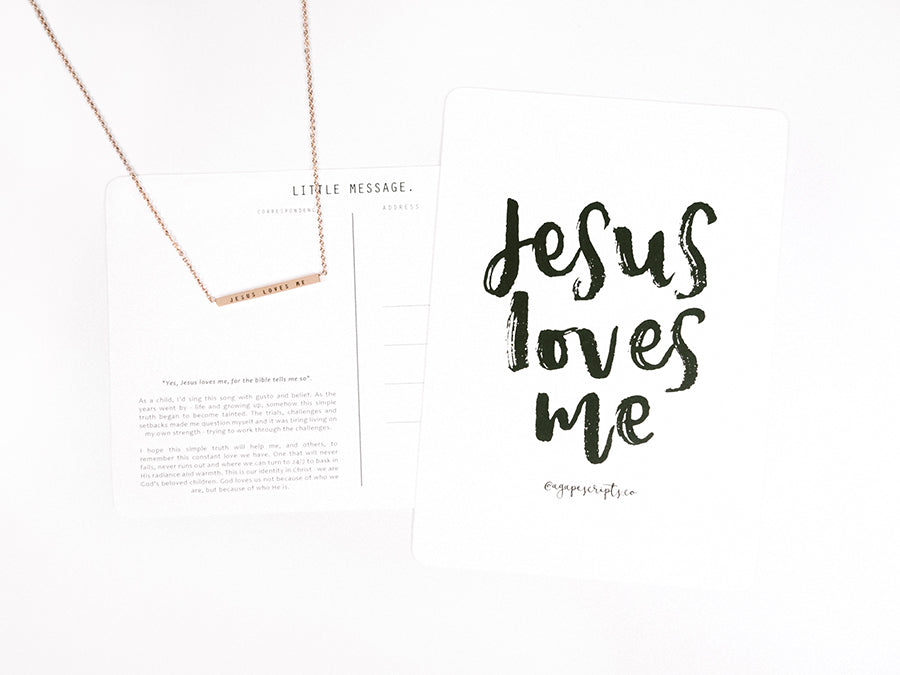 Jesus Loves Me bar pendant necklace stainless steel and rose gold color