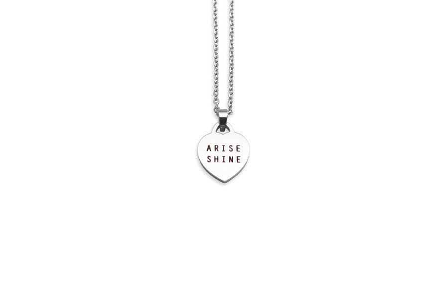 Arise shine heart shape pendant necklace