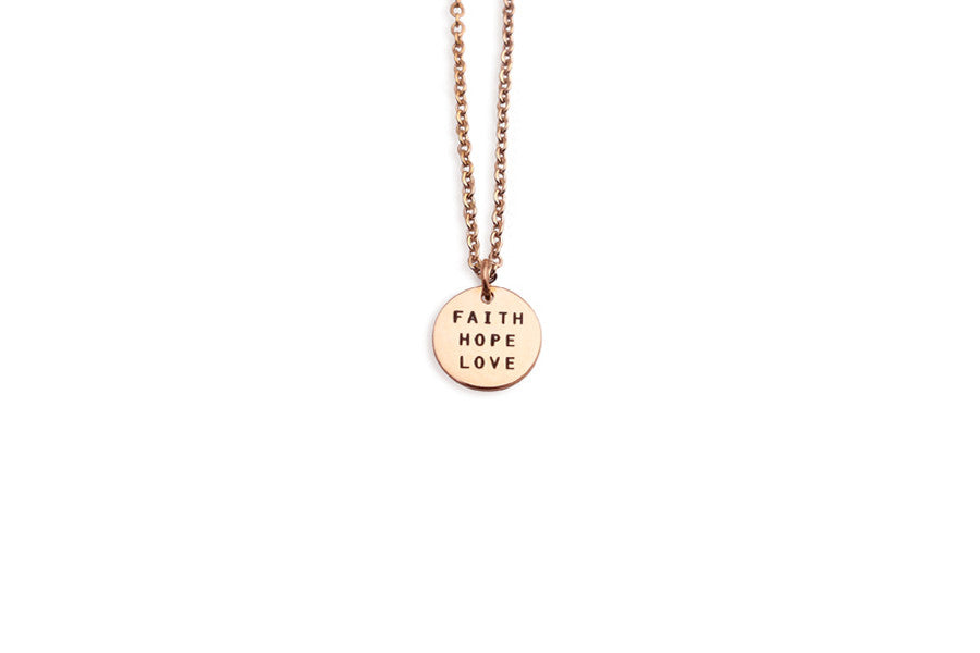 Round necklace j co foundry inspiring jewelry brand singapore faith hope love custom engraving believe accessories customization singapore rose gold necklace mozeypictures Image collections