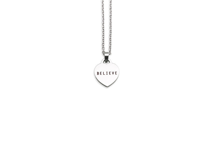 Silver color modern jewelry love pendant necklace engraved believe