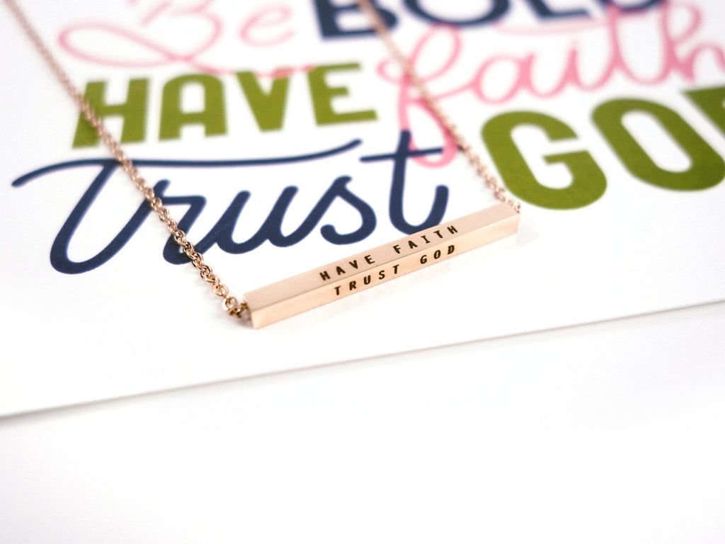 Be Bold Have Faith Trust God Customised Bar Pendant Necklace in Rose Gold