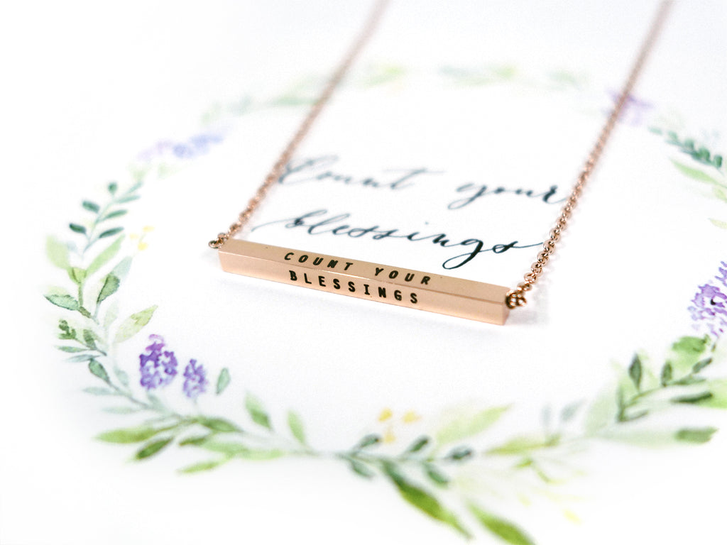 Count your Blessings Customised Bar Pendant Necklace in Rose Gold