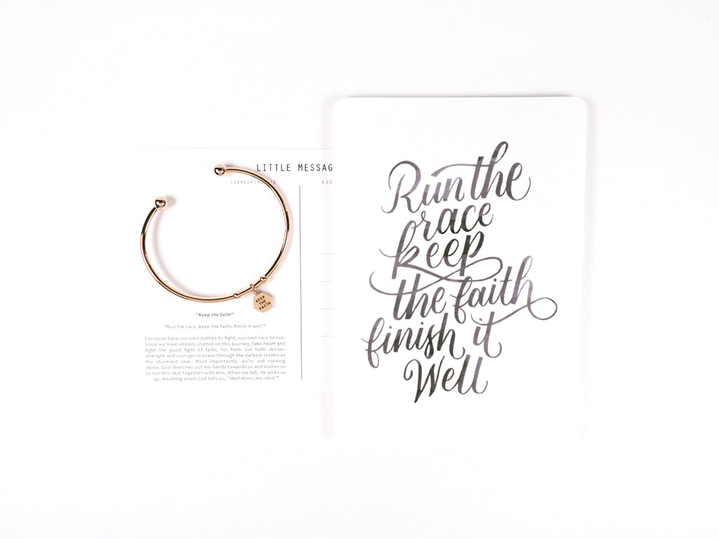 Keep The Faith Customised Hexagon Pendant Round Bracelet in Rose Gold