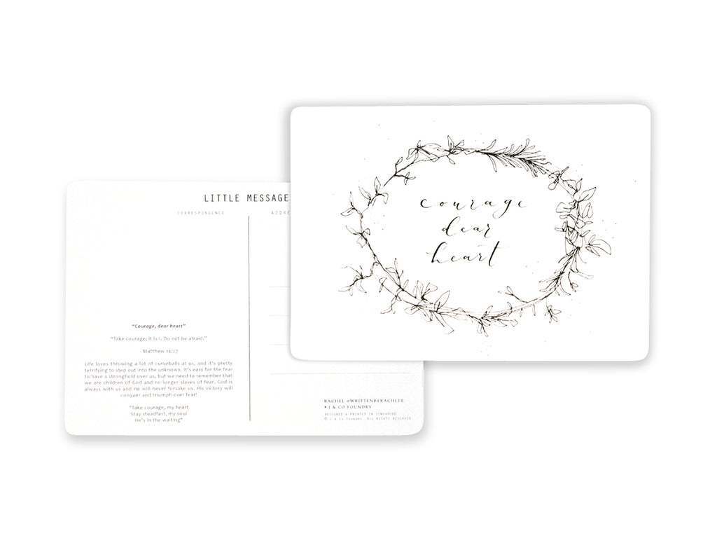 J & Co Foundry Photo Postcard with modern thin and sleek Calligraphy Typography Lettering with floral Artwork