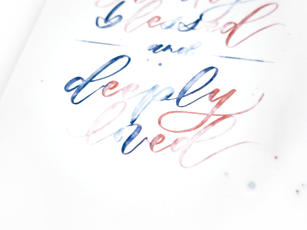 Handmade simple and beautiful calligraphy using watercolour brush and pen