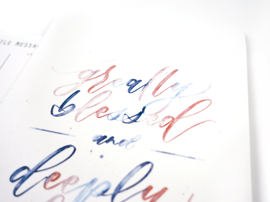 Gradient blue and red ombre bible hand lettering modern typography