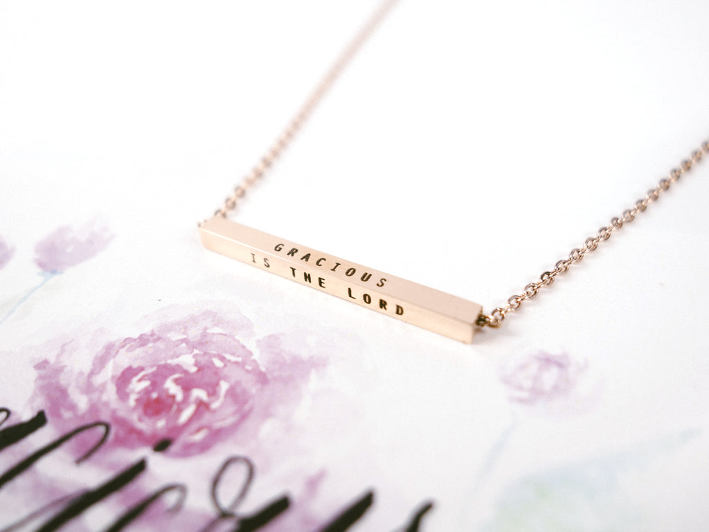 Gracious is the Lord | Bar Necklace