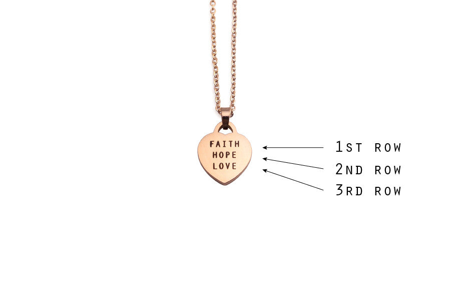 Singapore jewelry customisation with laser engrave heart pendant necklace