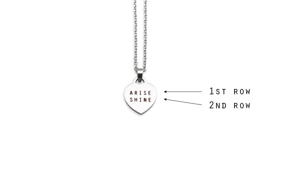 Singapore jewellery customization with laser engraved words on heart pendant