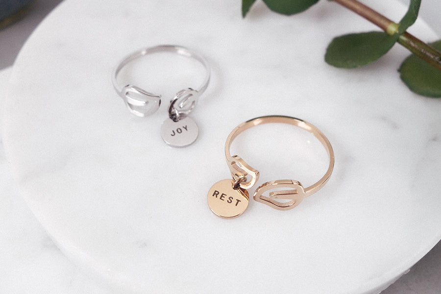 Engrave memory into jewelry with Jco round pendant leaf ring in rose gold or silver color