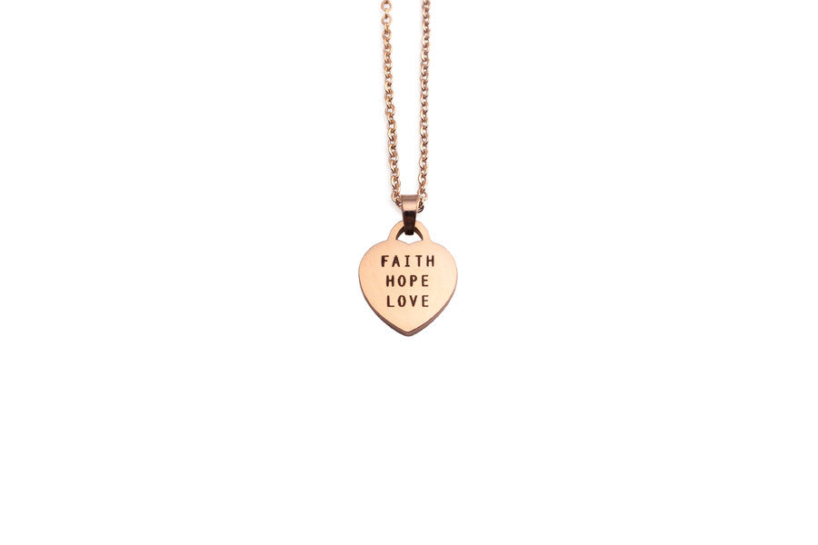 Faith hope love heart shape pendant necklace by jco foundry