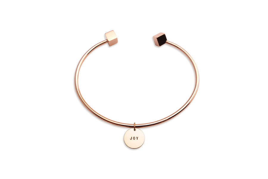 rose gold cube bracelet with customise pendant joy