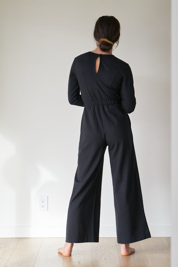 black long-sleeve jumpsuit