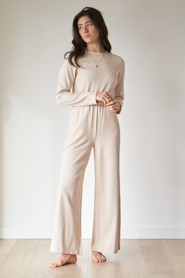 pink long-sleeve jumpsuit