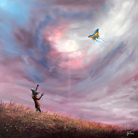 DAB An original painting showing a child on a hillside on a windy day flying a kite with streamers flying in the wind. Painting by Yorkshire artist Danny Abrahams and available at The Acorn Gallery Pocklington York.