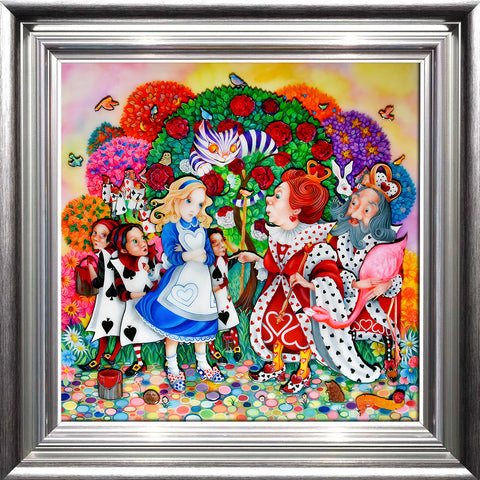 KDAR a bright and colourful paintinging showing the meeting of Alice in Wonderland with the Queen of Hearts in the Rose Garden with an abundance of colour and detail! Painting by Kerry Darlington and available from The Acorn Gallery Pocklington York.