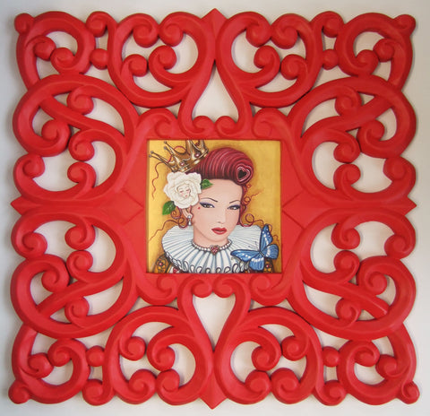 MLW A Stunning original painting of the Queen of Hearts with a large white rose in her hair and a gold background. The frame is very wide and ornate and a stunning red! Painting by Scottish artist Marie Louise Wrightson and available at The Acorn Gallery Pocklington York.