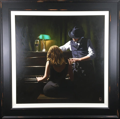 RBL A dark and romantic painting of a young woman sat playing an upright piano with her man stood at her side watching her. Painting by artist Richard Blunt available at The Acorn Gallery Pocklington York.