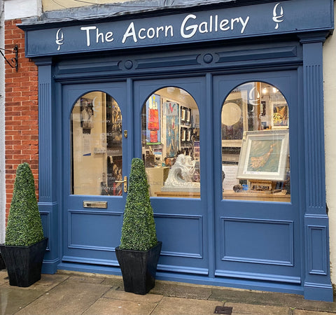 The beautiful shop front for The Acxorn Gallery Pocklington York who show a wide range or beautiful artwork from a great variety of UK artists.