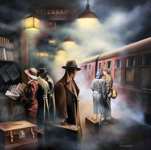 A man with a suitcase standing on a railway station platform in a cloud of steam looking at a couple and perhaps thinking of someone he misses. Painting and prints by artist Tim Shorten and artwork available at The Acorn Gallery, Pocklington near York.