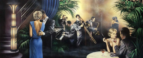 A beautiful woman in a blue dress talking with a man in formal white tie evening dress. We imagine the setting is a jazz club as in the background a man plays piano and a trio of others play on trumpet, trombone and saxophone. Other couples are sat at tables with drink and sometimes smoking with their cigarettes in elegant holders, whilst others are dancing. Painting and prints by artist Tim Shorten and available from The Acorn Gallery, Pocklington near York.