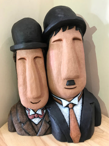 Laurel & Hardy Bighead Sculpture By Jenny Mackenzie *NEW*