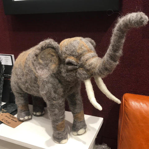 Needlefelt Elephant Original by Maxine Lowery