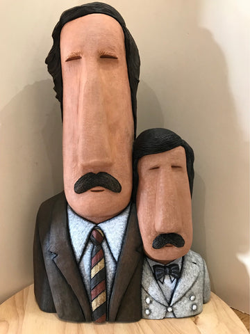 Basil & Manuel - Fawlty Towers Bighead Sculpture By Jenny Mackenzie