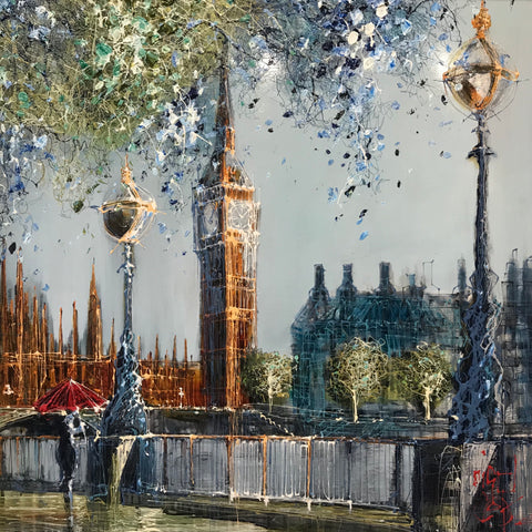 April Showers Over Westminster (London) Original on Aluminium by Nigel Cooke