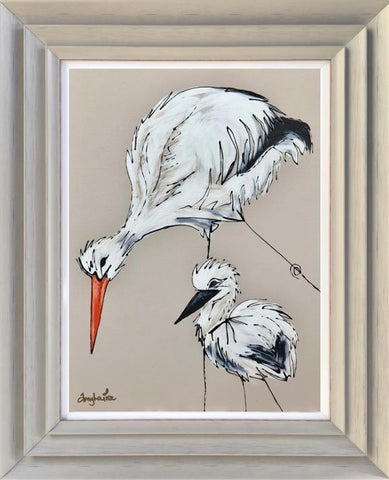 Special Delivery (Storks) Original by Amy Louise *SOLD*-Original Art-Amy Louise-artist-The Acorn Gallery