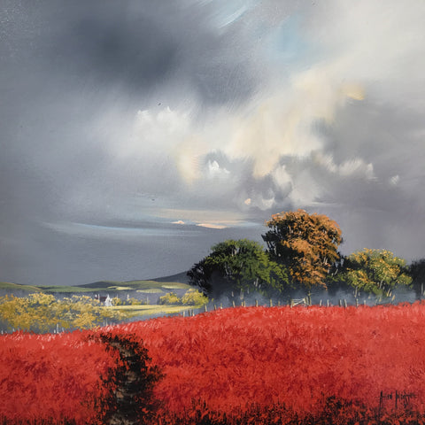 Beautiful original painting of red fields with a distant tree line and a moody and darkening sky original painting by Allan Morgan