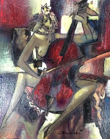Cello Original Oil by Andrei Protsouk *SOLD*-Original Art-Andrei-Protsouk-artist-The Acorn Gallery