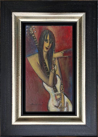 Girl With Guitar Original by Andrei Protsouk-Original Art-Andrei-Protsouk-artist-The Acorn Gallery