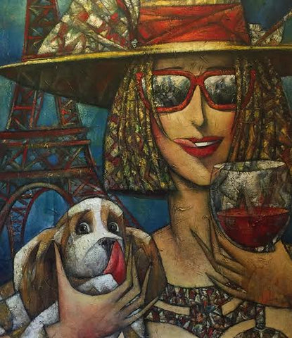 Wine Tasting Original by Andrei Protsouk *SOLD*-Original Art-Andrei-Protsouk-artist-The Acorn Gallery