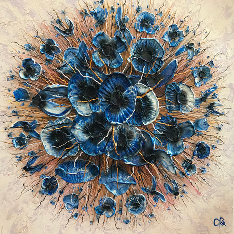 Poppy Spot Blues Original by Robert Cox *NEW*