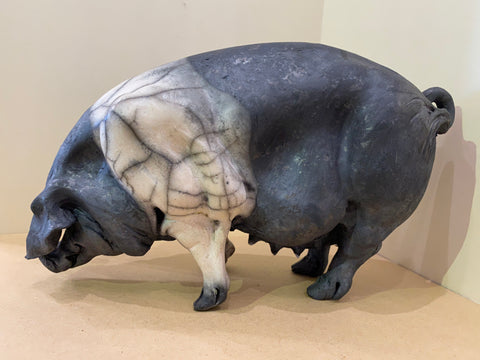 Ethel Ceramic Saddleback Pig Original by Christine Cummings *NEW*