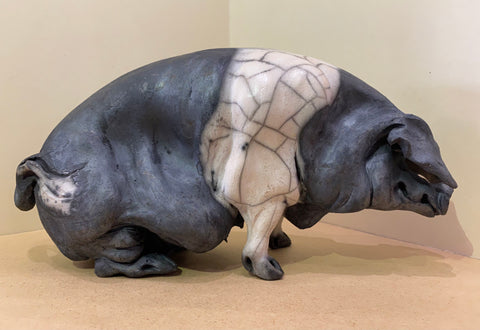 Eva Ceramic Saddleback Pig Original by Christine Cummings *NEW*