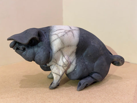 Ruby Ceramic Saddleback Pig Original by Christine Cummings *NEW*