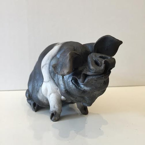 Agnes Ceramic Saddleback Pig Original by Christine Cummings *SOLD*