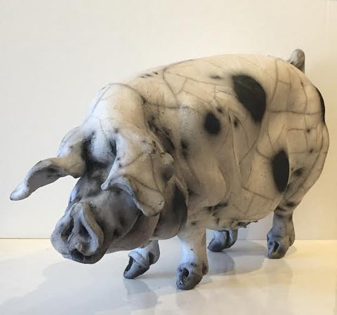 Amelia Ceramic Gloucester Old Spot Pig Original by Christine Cummings *SOLD*