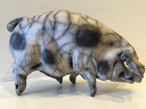 Becky Ceramic Gloucester Old Spot Pig Original by Christine Cummings *SOLD*