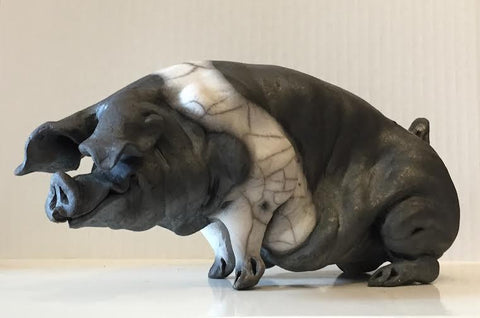 Belinda Ceramic Saddleback Pig Original by Christine Cummings *SOLD*