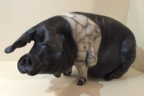 Bess Ceramic Saddleback Pig Original by Christine Cummings *SOLD*