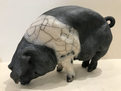 Flora Ceramic Saddleback Pig by Christine Cummings *SOLD*