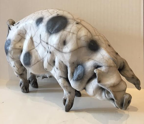 Harriet Ceramic Gloucester Old Spot Pig Original by Christine Cummings *SOLD*