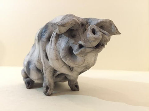 Maggie Ceramic Gloucester Old Spot Pig Original by Christine Cummings *SOLD*