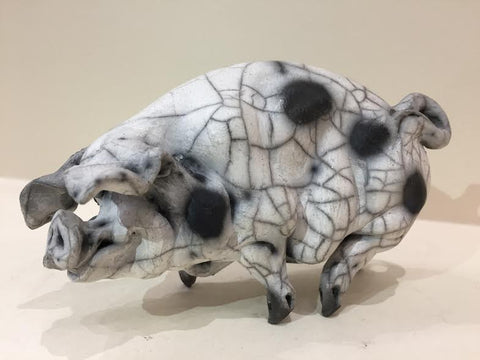 Mathilda Ceramic Gloucester Old Spot Pig Original by Christine Cummings *SOLD*