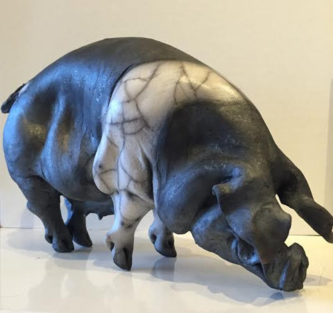 Miriam Ceramic Saddleback Pig Original by Christine Cummings *SOLD*
